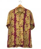 Sun Surf(サンサーフ)の古着「パイナップルボーダーアロハシャツ」|ボルドー
