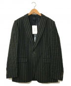 DIESEL Black Gold(ディーゼル ブラック ゴールド)の古着「コットンストライプテーラードジャケット」|グリーン×ネイビー