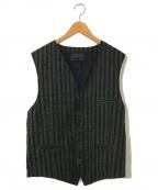 DIESEL Black Gold(ディーゼル ブラック ゴールド)の古着「コットンストライプベスト」|グリーン×ネイビー