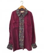 77circa(ナナナナサーカ)の古着「リメイクペイズリー切替サテンシャツ」 ワインレッド