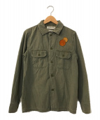 ()の古着「レザーパッチミリタリーシャツ」|カーキ