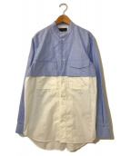 ()の古着「切替バンドカラーシャツ」|スカイブルー×ホワイト
