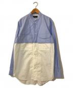 DIESEL Black Gold(ディーゼル ブラック ゴールド)の古着「切替バンドカラーシャツ」|スカイブルー×ホワイト