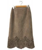 ()の古着「カットワークタイトスカート」 ピンク