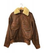 ()の古着「[古着]襟ボアラムレザージャケット」 ブラウン