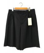 ()の古着「タックウールショートパンツ」 ブラック