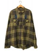 ()の古着「Plaid Flannel Shirts」 ブラウン