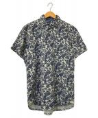 ()の古着「ペイズリープリントポロシャツ」 ネイビー×ホワイト