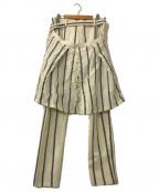 sacai()の古着「ストライプウールレイヤードパンツ」 オフホワイト