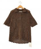 AKANE UTSUNOMIYA(アカネウツノミヤ)の古着「silk network t-shirt」 ブラウン