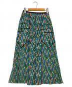 AKANE UTSUNOMIYA(アカネウツノミヤ)の古着「総柄パイピングスカート」 グリーン
