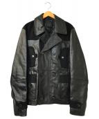 ()の古着「切替カウレザーダブライダースジャケット」 ブラック
