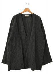 nestrobe confect (ネストローブ コンフェクト) リネン ペーパーストライプジャケット ブラック サイズ:FREE