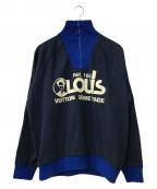 LOUIS VUITTON(ルイ ヴィトン)の古着「ロゴジップデザインハイネックスウェット」|ブルー×ネイビー