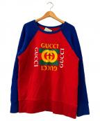 GUCCI(グッチ)の古着「ヴィンテージ加工ロゴスウェット」|レッド×ブルー