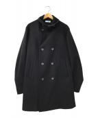 ()の古着「メルトン ロング Pコート」|ブラック