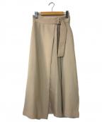 JUSGLITTY()の古着「巻き風Aラインロングスカート」|ベージュ