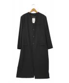 ()の古着「ノーカラーコート」 ブラック