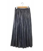 ()の古着「レザーサテンギャザースカート」 ネイビー