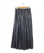 COLLAGE GALLARDAGALANTE(コラージュ ガリャルダガランテ)の古着「レザーサテンギャザースカート」|ネイビー