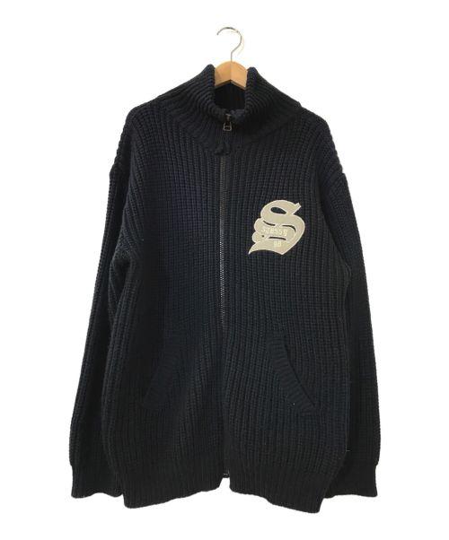 stussy(ステューシー)stussy (ステューシー) ヴィンテージジップアップニット ネイビー サイズ:LARGEの古着・服飾アイテム