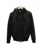 AKM(エーケーエム)の古着「フーデットレザージャケット」|ブラック