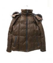 ISAMU KATAYAMA BACKLASH(イサムカタヤマ バックラッシュ)の古着「レザーダウンジャケット」|ブラウン