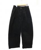 ASEEDONCLOUD(アシードンクラウド)の古着「シンチバックワイドデニムパンツ」 ブラック