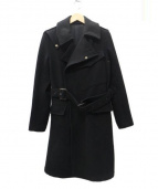 J.Sabatino(ジェイサバティーノ)の古着「ダブルベルト付きコート」|ブラック