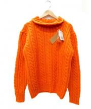 INVERALLAN(インバーアラン)の古着「ROLL COLLAR ARAN SWEATER」 オレンジ