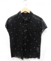 MARGARET HOWELL(マーガレットハウエル)の古着「ドットシャツ」|ブラック