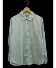 MARGARET HOWELL(マーガレット ハウエル)の古着「ラウンドカラーシャツ」|ホワイト×ネイビー