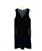 VIVIENNE TAM(ヴィヴィアン・タム)の古着「ベロアノースリーブワンピース」|ブラック