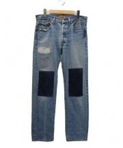 B SIDES(ビーサイズ)の古着「リメイクデニムパンツ」 インディゴ