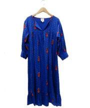 nimo(ニモ)の古着「ブルーレースギャザードレス」|ブルー