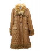 BURBERRY BLUE LABEL(バーバリーブルーレーベル)の古着「キルティングレザーコート」|ブラウン