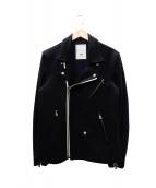 BLACK&BLUE(ブラックアンドブルー)の古着「ウールライダースジャケット」|ネイビー