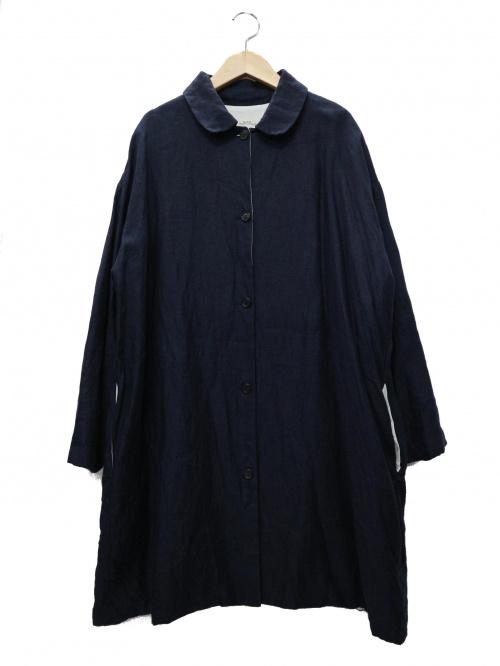 apuntob(アプントビー)apuntob (アプントビー) 丸襟インディゴリネンコート サイズ:S 定価64,000円+税の古着・服飾アイテム