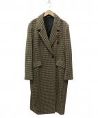 ELENDEEK(エレンディーク)の古着「ハウンドトゥースチェスターコート」|ブラウン