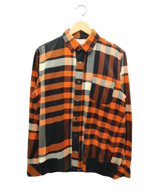 sacai(サカイ)sacai (サカイ) リブチェックシャツ オレンジ サイズ:2 未使用品の古着・服飾アイテム