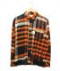 sacai(サカイ)の古着「リブチェックシャツ」 オレンジ