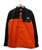 THE NORTH FACE(ザノースフェイス)の古着「ロングスリーブヌプシシャツ」|オレンジ×ブラック
