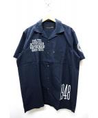 VAN(ヴァン)の古着「刺繍オープンカラーシャツ」 ネイビー