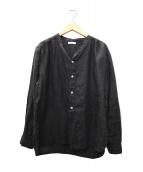 fog linen work(フォグリネンワーク)の古着「バンドカラーリネンシャツ」|グレー