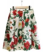 Lois CRAYON(ロイスクレヨン)の古着「フラワープリントスカート」|ベージュ×グリーン