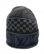 LOUIS VUITTON(ルイ・ヴィトン)の古着「ニットキャップ」|グレー×ブルー
