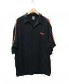 myne(マイン)の古着「2ラインレーヨンオープンカラーシャツ」|ブラック