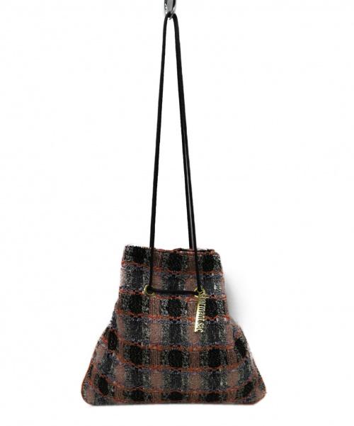 charmant sac(シャルマントサック)charmant sac (シャルマントサック) ツイードバッグ オレンジの古着・服飾アイテム