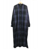 AURALEE(オーラリー)の古着「チェックスタンドカラーワンピース」|ブラック