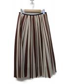 DES PRES(デプレ)の古着「ストライププリントランダムプリーツスカート」|ホワイト×ブラウン